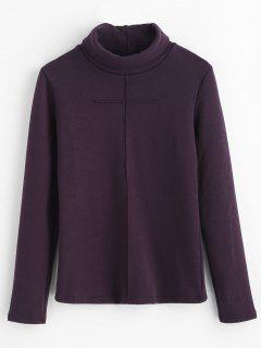 Turtleneck Plain Sweatshirt - Eggplant Xl