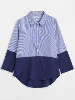 Contrast Striped High Low Shirt - Deep Blue L