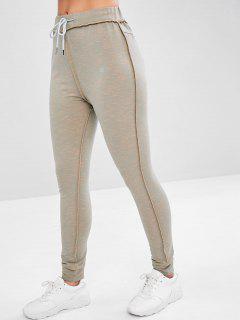 Heather Stitching Jogger Pants - Gray L