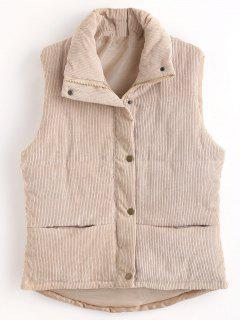 Padded Zipper Corduroy Waistcoat - Light Khaki Xl
