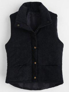 Padded Zipper Corduroy Waistcoat - Black L