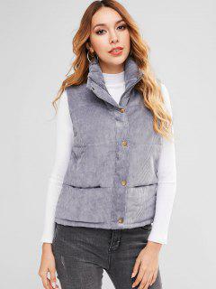 Padded Zipper Corduroy Waistcoat - Blue Gray M