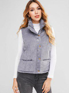 Padded Zipper Corduroy Waistcoat - Blue Gray Xl
