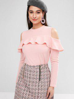 Cold Shoulder Ruffled Ribbed Tee - Pink M