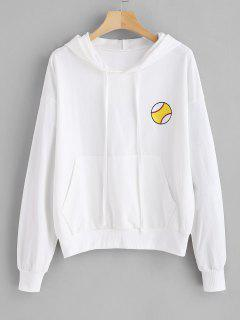 Pouch Pocket Football Embroidered Hoodie - White