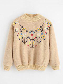 Floral Embroidered Faux Fur Sweatshirt - Beige Xl