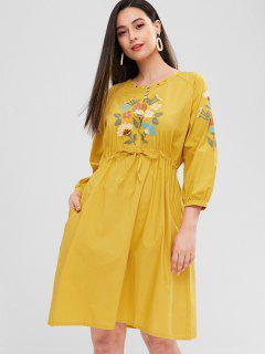 Raglan-Hülsen-Blumen-gesticktes Kleid - Goldrute