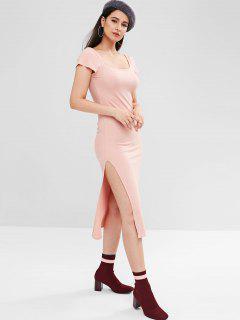 Vestido Acanalado Escote Redondo - Rosa Claro M
