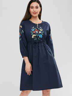Raglan Sleeve Flower Embroidered Dress - Navy Blue