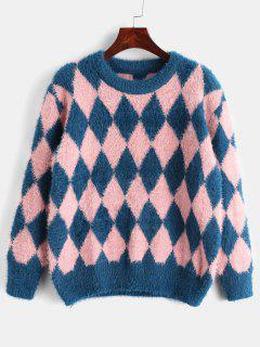 Fuzzy Argyle Knit Sweater - Multi-a