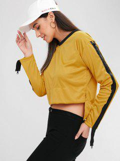 Asymmetric Slit Zip Sleeve Sweatshirt - Orange Gold Xl