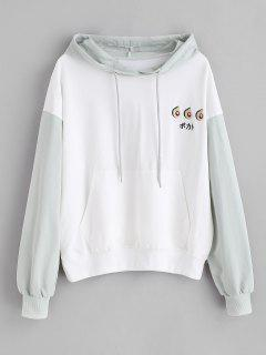 Embroidered Pouch Pocket Pullover Hoodie - White