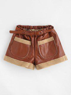 Belted Faux Leather Pocket Shorts - Brown M