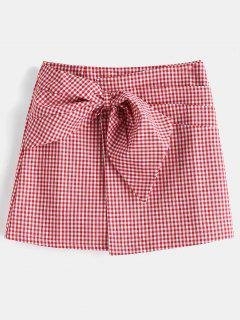 High Rise Gingham Bowknot A Line Skirt - Red M