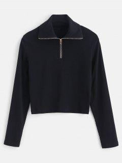 Long Sleeve Quarter Zip Cropped Tee - Black S
