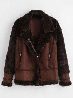 Faux Fur Raglan Sleeve Coat - Brown M