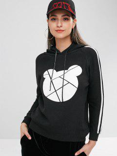 Bear Graphic Hooded Knit Sweater - Black