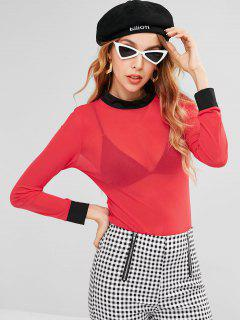 Mesh See Through Tee - Red L
