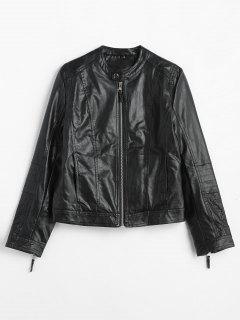 Side Pockets Zip Up Faux Leather Jacket - Black M
