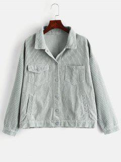 Pockets Button Up Corduroy Jacket - Sea Green S