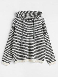 Hooded Striped Pullover Sweater - Gray