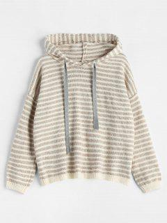 Hooded Striped Pullover Sweater - Camel Brown