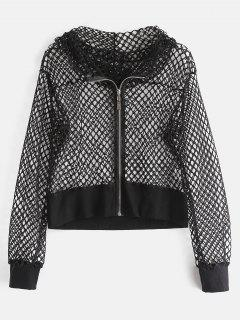 Hooded Hollow Out Fishnet Jacket - Black L