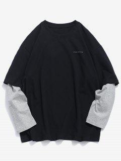 Camiseta De Manga Larga Falsa De Dos Piezas - Negro M
