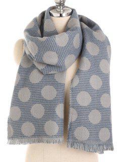 Winter Polka Dot Fringed Long Scarf - Blue Gray