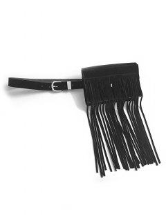 Fringed Solid Color Waist Bag - Black