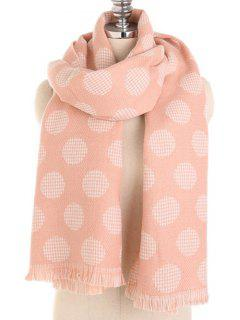 Winter Polka Dot Fringed Long Scarf - Orange Pink