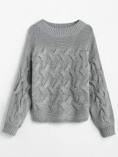 Basketweave Knit Batwing Sweater - Gray S