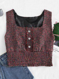 Cuello Redondo Sin Mangas Tweed Crop Top - Multicolor L
