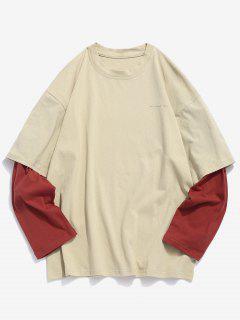 Camiseta De Manga Larga Falsa De Dos Piezas - Blanco Cálido M