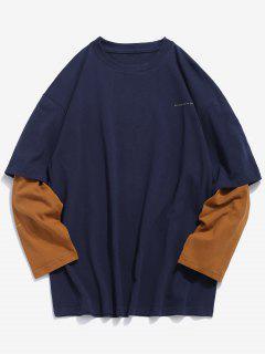 T-shirt Fausse Deux Pièces à Manches Longues - Bleu Profond Xl