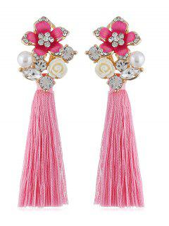 Rhinestone Floral Long Tassel Party Earrings - Blush Red