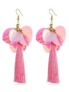Floral Long Tassel Fish Hook Earrings - Pig Pink