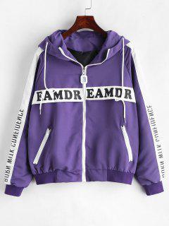 Letter Raglan Sleeve Hooded Jacket - Purple L