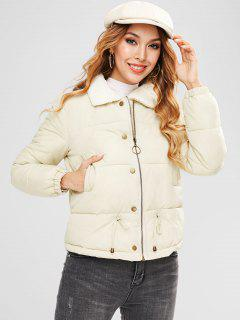 Zip Up Drawstring Quilted Jacket - Warm White M