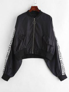 Letter Ribbon Zip Up Bomber Jacket - Black Xl