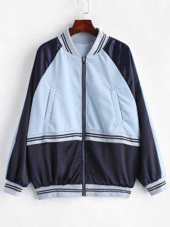 Raglan Sleeve Striped Color Block Jacket - Sea Blue L