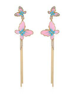 Rhinestone Butterfly Chain Pendant Earrings - Pig Pink