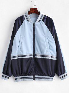 Raglan Sleeve Striped Color Block Jacket - Sea Blue S