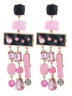 Colored Rhinestone Fringe Drop Earrings - Pig Pink