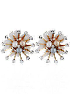 Elegantes Pendientes De Imitación De Perlas De Imitación De Diamantes De Imitación - Blanco