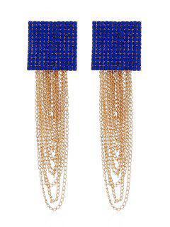 Pendientes Con Flecos De Cadena Cuadrada Con Incrustaciones De Diamantes De Imitación - Azul