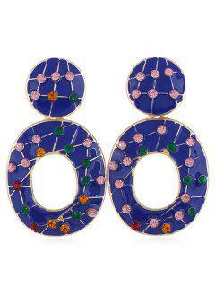 Pendientes Huecos De Diamantes De Imitación De Color - Azul