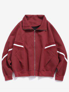 Bat Sleeve Striped Patch Jacket - Chestnut Red S
