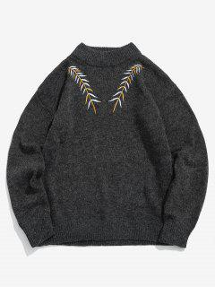 Embroidered Leaf Knit Sweater - Black M