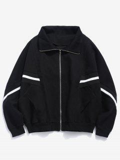 Bat Sleeve Striped Patch Jacket - Black Xl